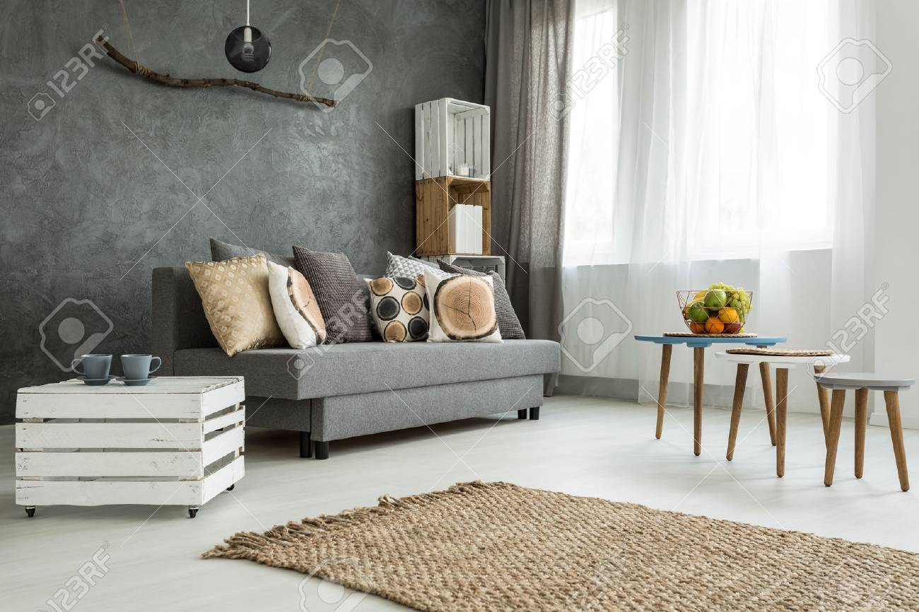 New Style Living Room In Grey With Sofa, DIY Furniture, Small Table And Two