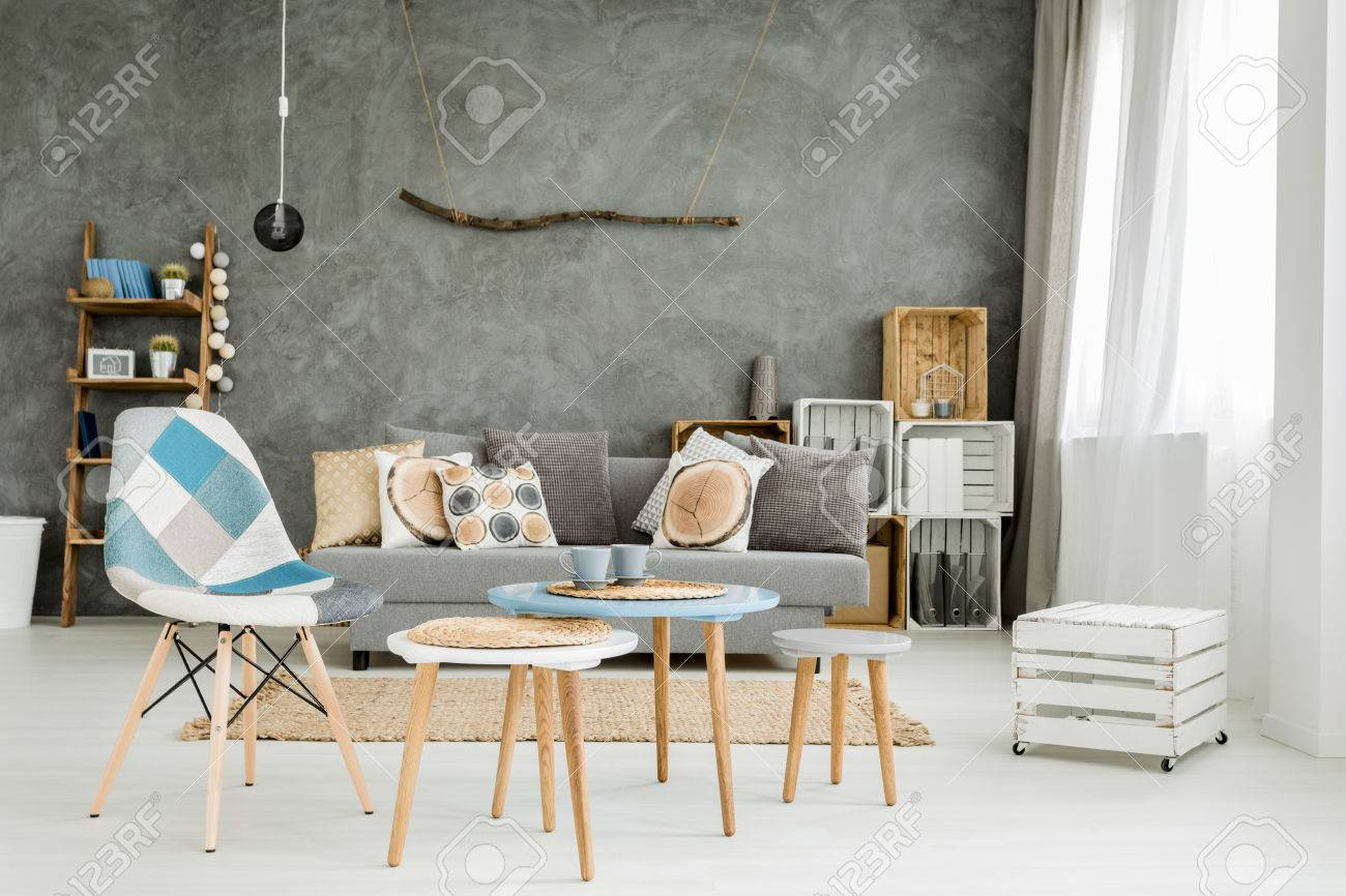 Image Of A New Style Grey Flat With DIY Furniture, Sofa, Small Table And