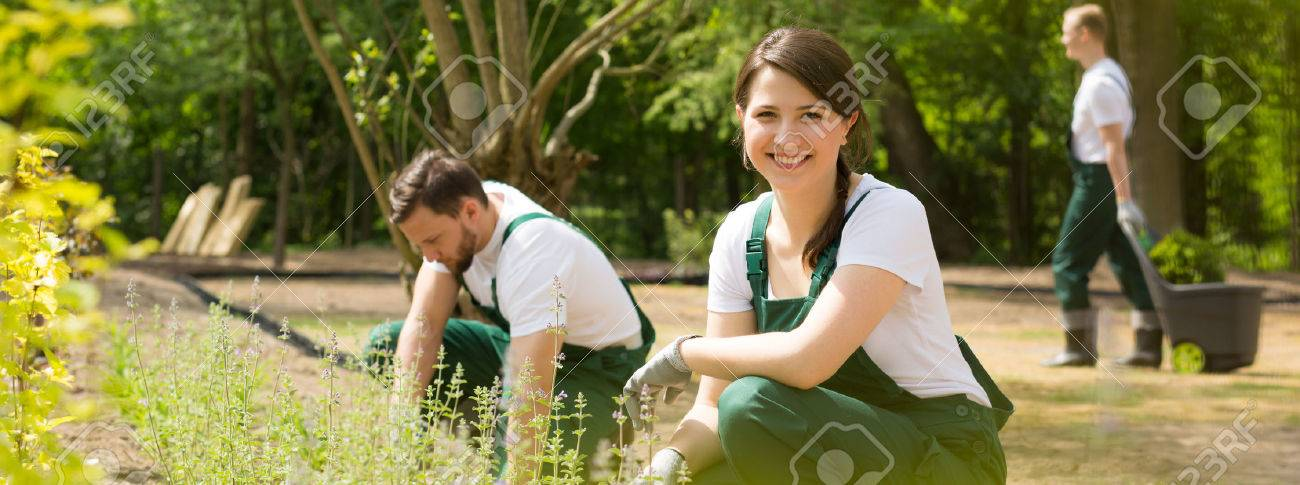 Shot of a happy young gardener smiling at the camera and her friends working in the background Standard-Bild - 60615001