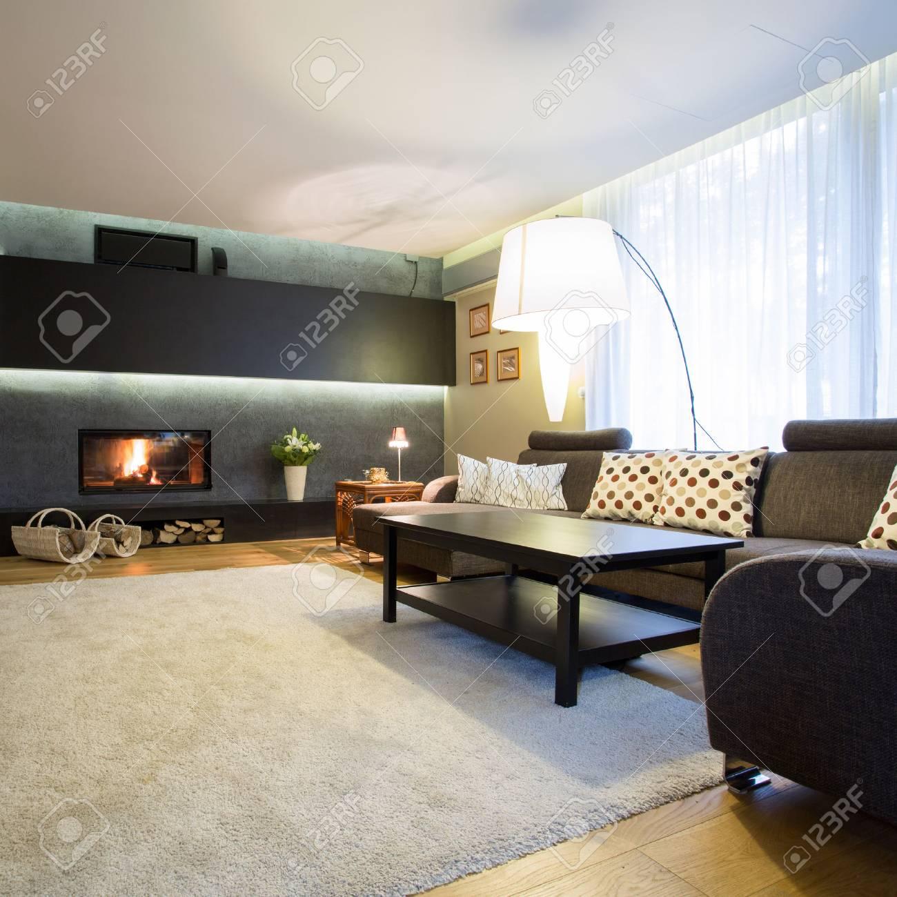 Große Familienzimmer Mit Weißen Weichen Teppich Auf Holzboden ...