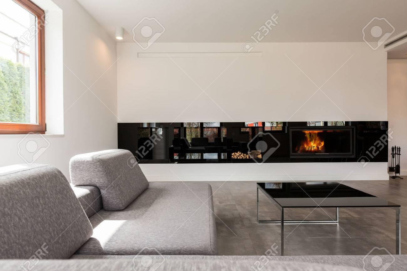 Sehr Geräumiges Zimmer Modernes Wohnen Im Minimalistischen Stil  Eingerichtet, Mit Einem Kamin In Einer Der