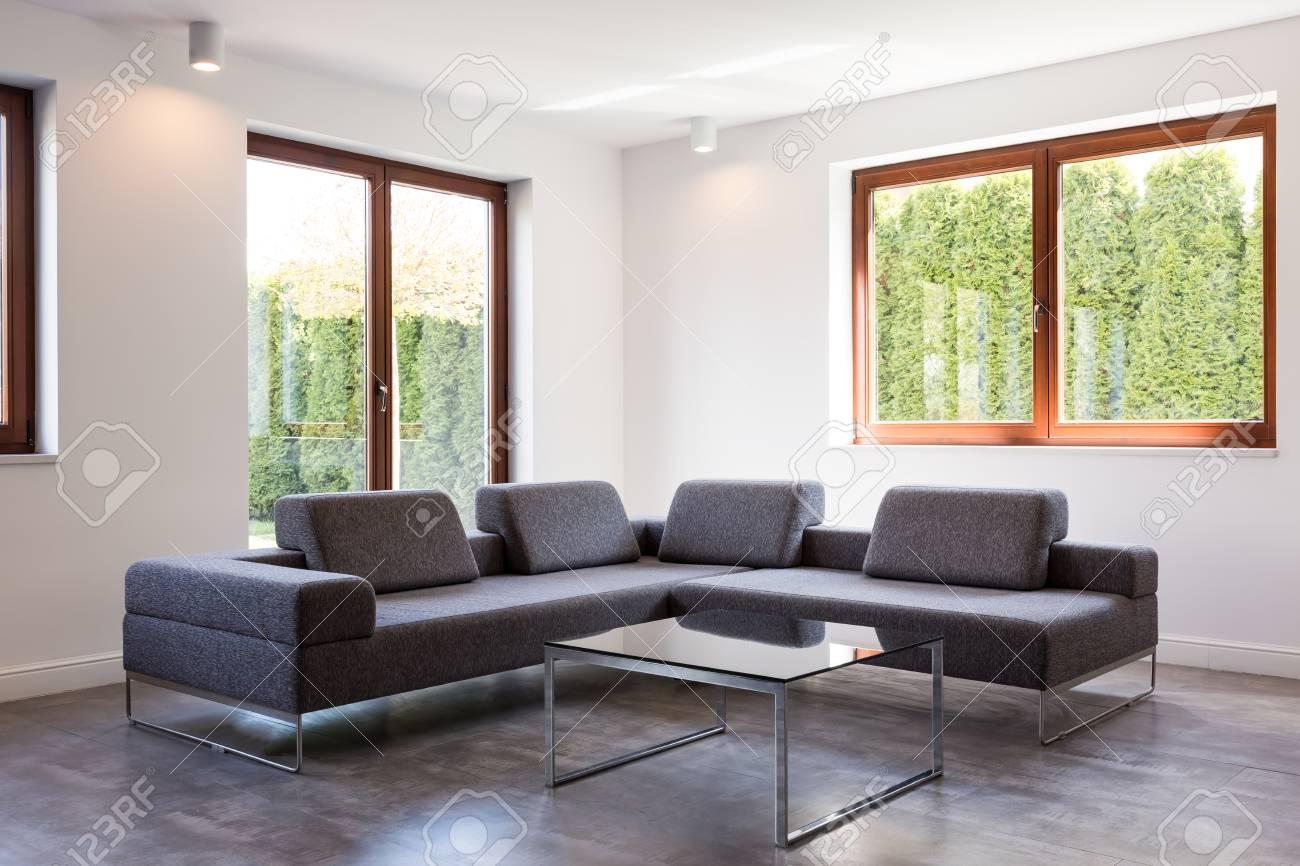 Coin d\'un salon très moderne avec un grand canapé gris et une table basse  en verre debout par deux fenêtres