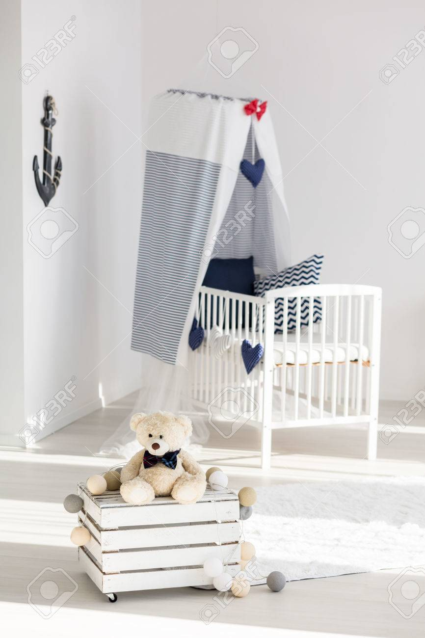 Cosy Corner Of A Little Boys Room With Wooden Box Table And Stock