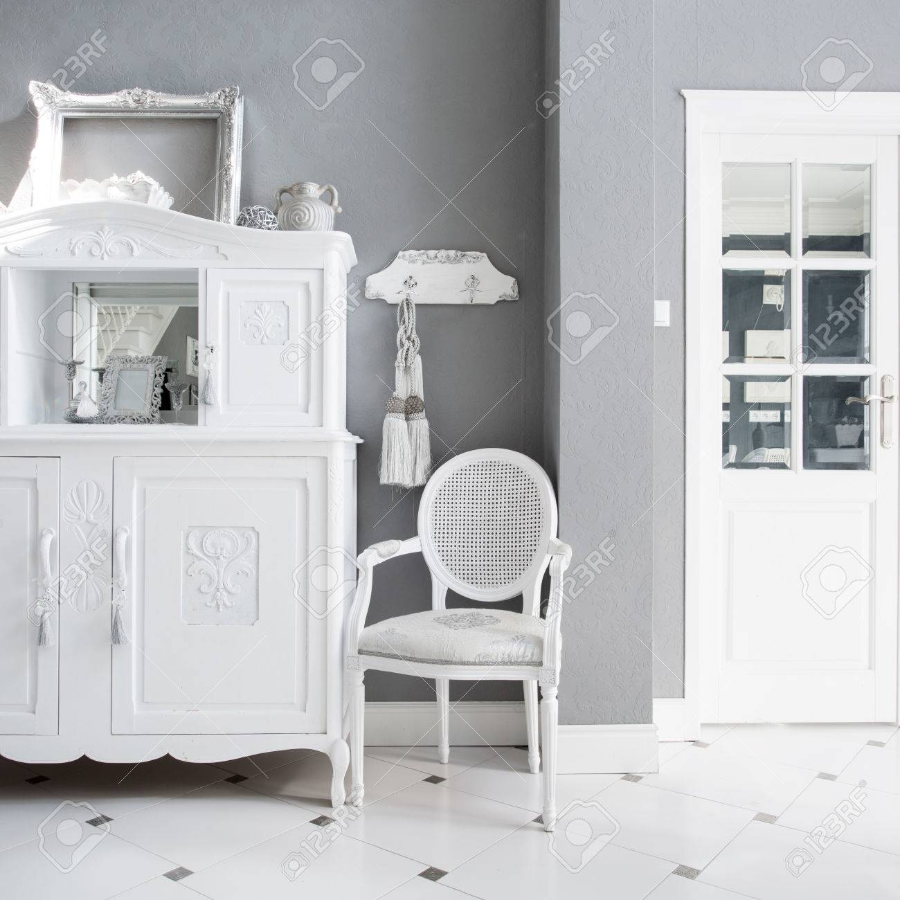 View Of Vintage Furniture In Expensive Interior Stock Photo Picture