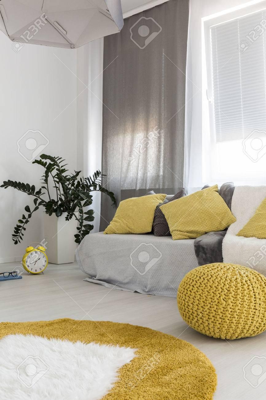 Schuss Von Einem Komfortablen Raum Interieur, In Grau Und Gelb ...