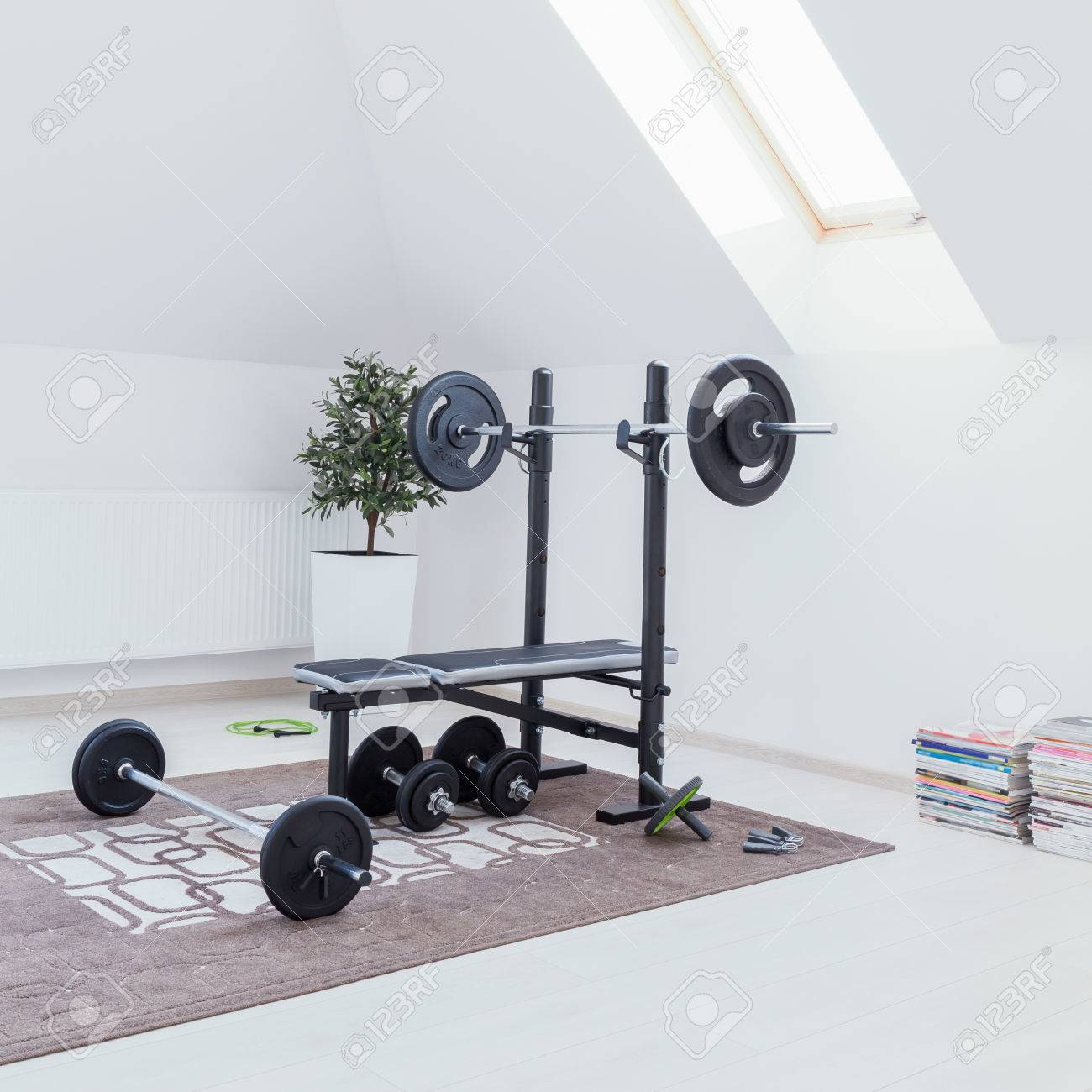 Small home gym with bench with dumbbells stock photo 61589836