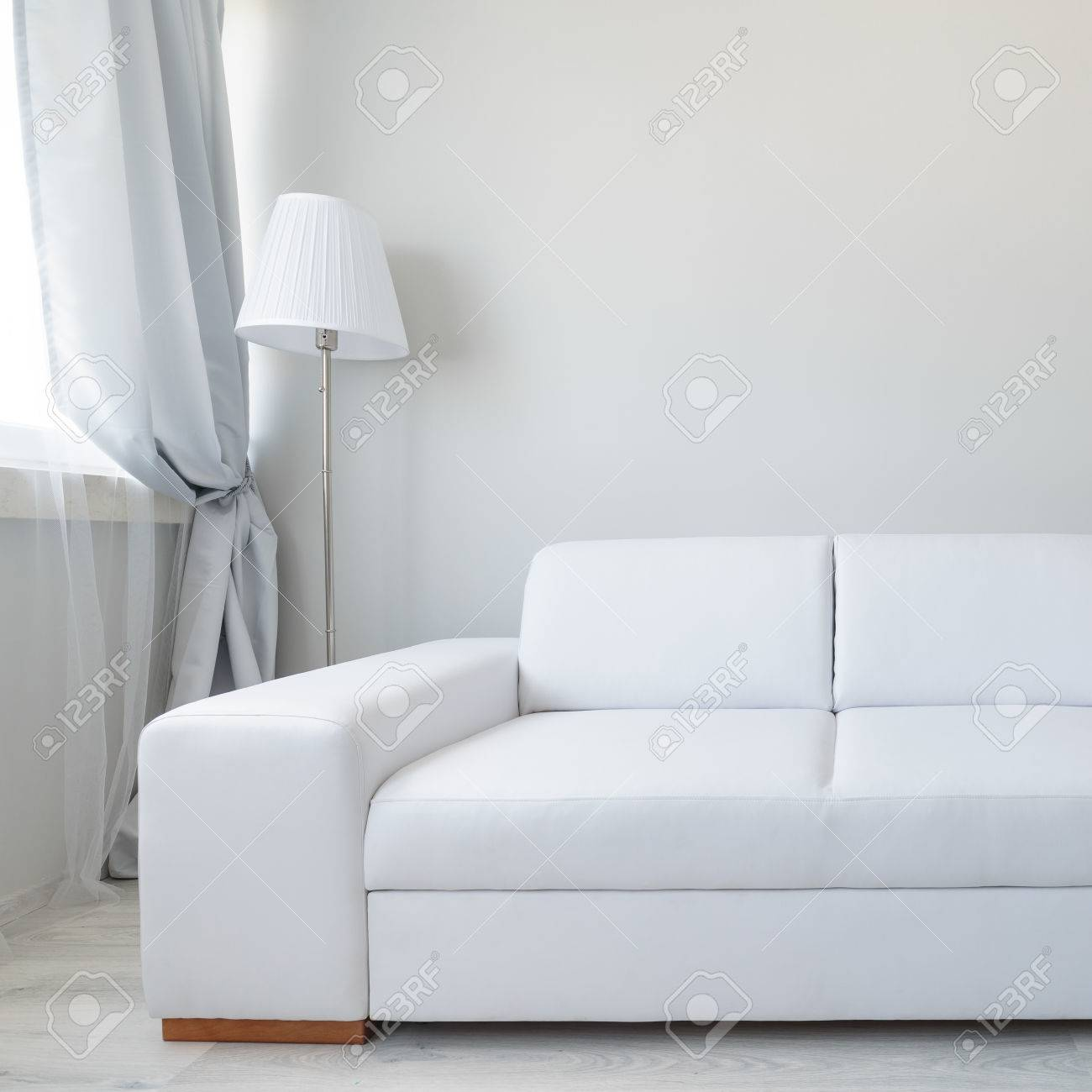 Close Up Of White Comfortable Leather Double Sofa