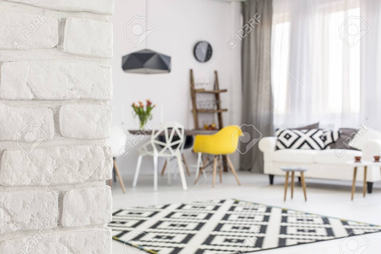 Close-up Of A White Brick Wall In A Modern Living Room Blurred ...