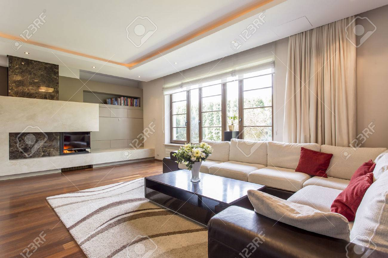 Luxurious Living Room In A Villa, With A Leather Corner Sofa.. Stock ...