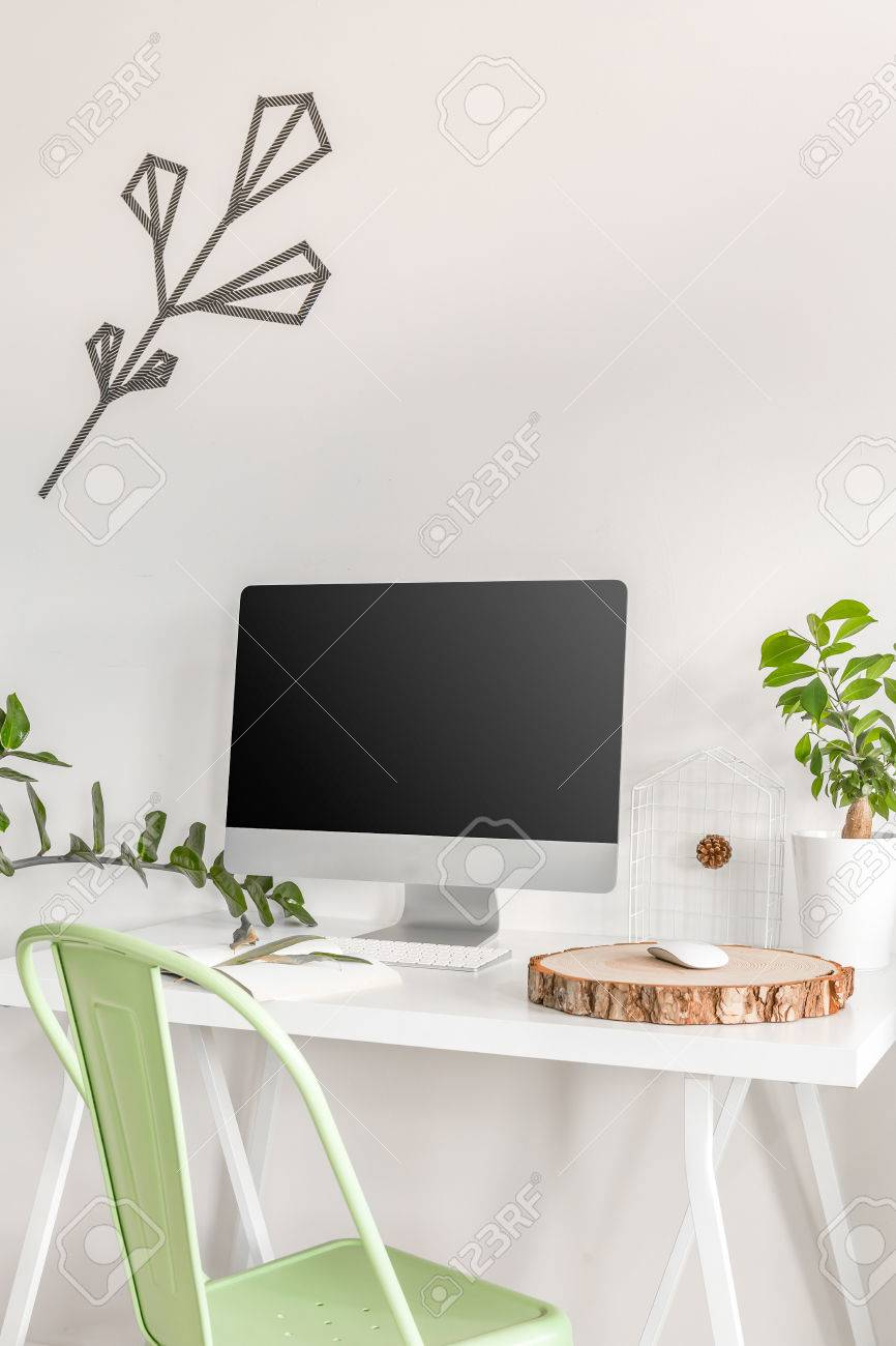 White Study Area With Simple Desk Chair Computer And Decorative
