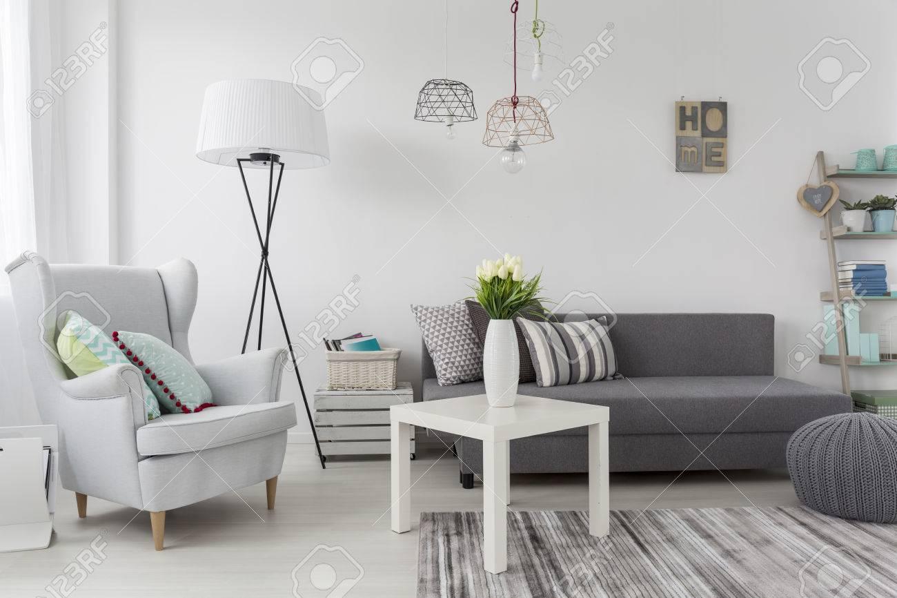 Delicate Modern Decorations Idea In White Female Room Stock Photo ...