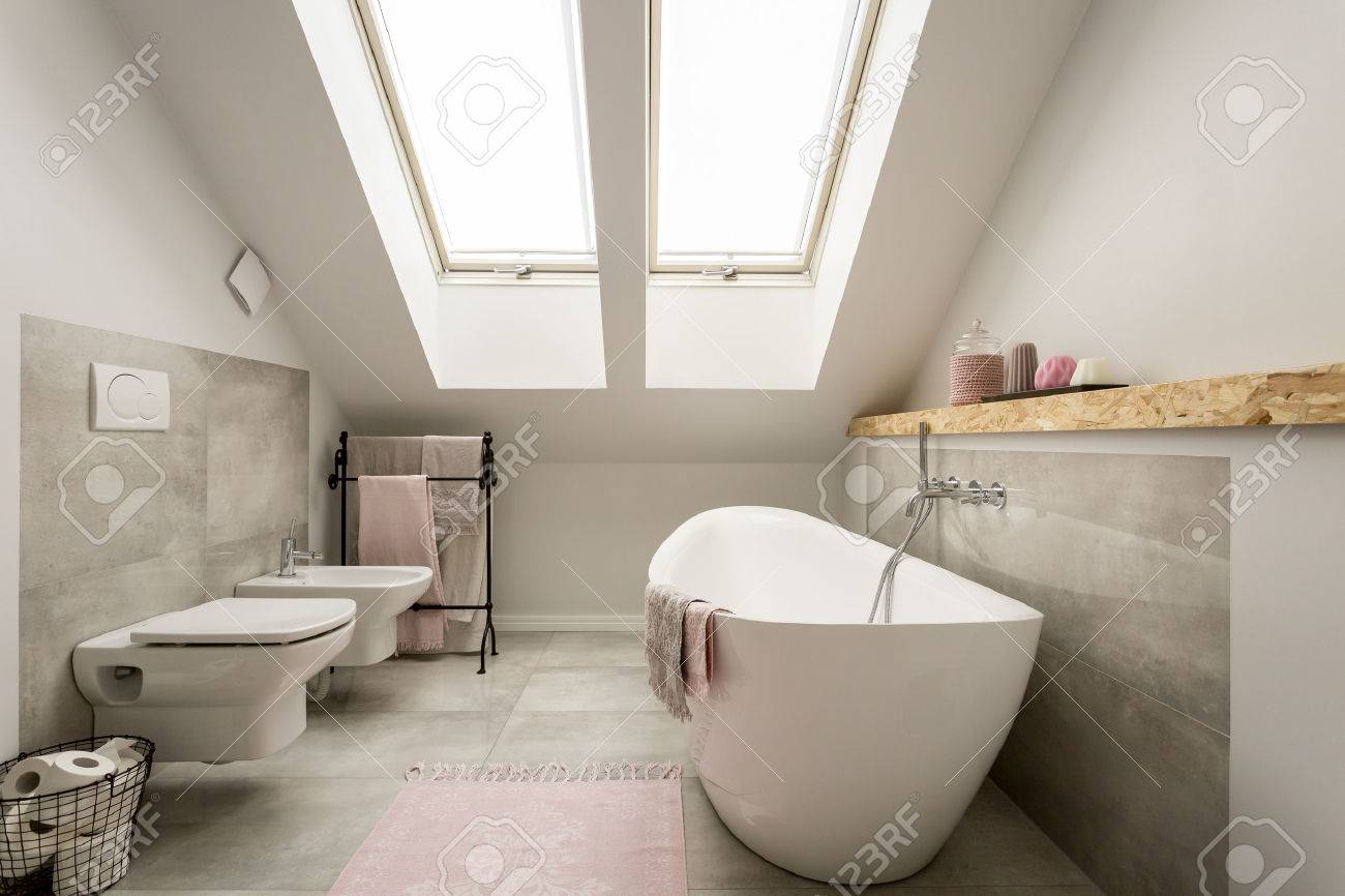 Modern Grey Female Bathroom With Pastel Pink Decorations Stock Photo