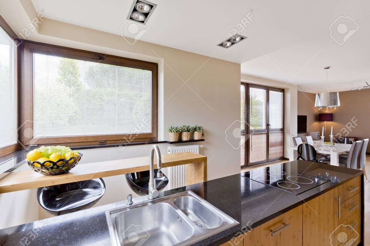 Modern Style House With Open Plan Kitchen Interior Stock Photo