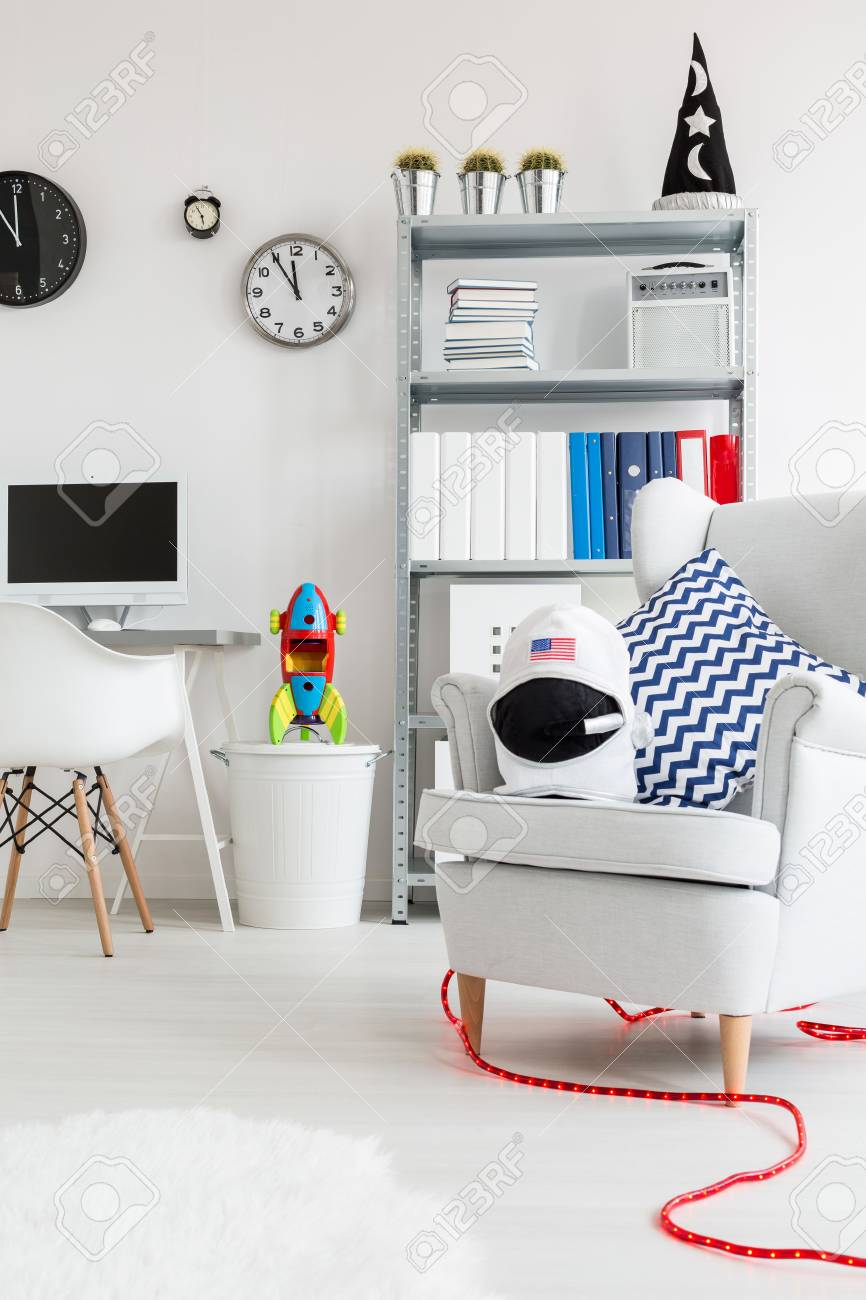 Cosy Corner Of A Young Boy Room With Deskchair And Bookshelf Armchair Witch