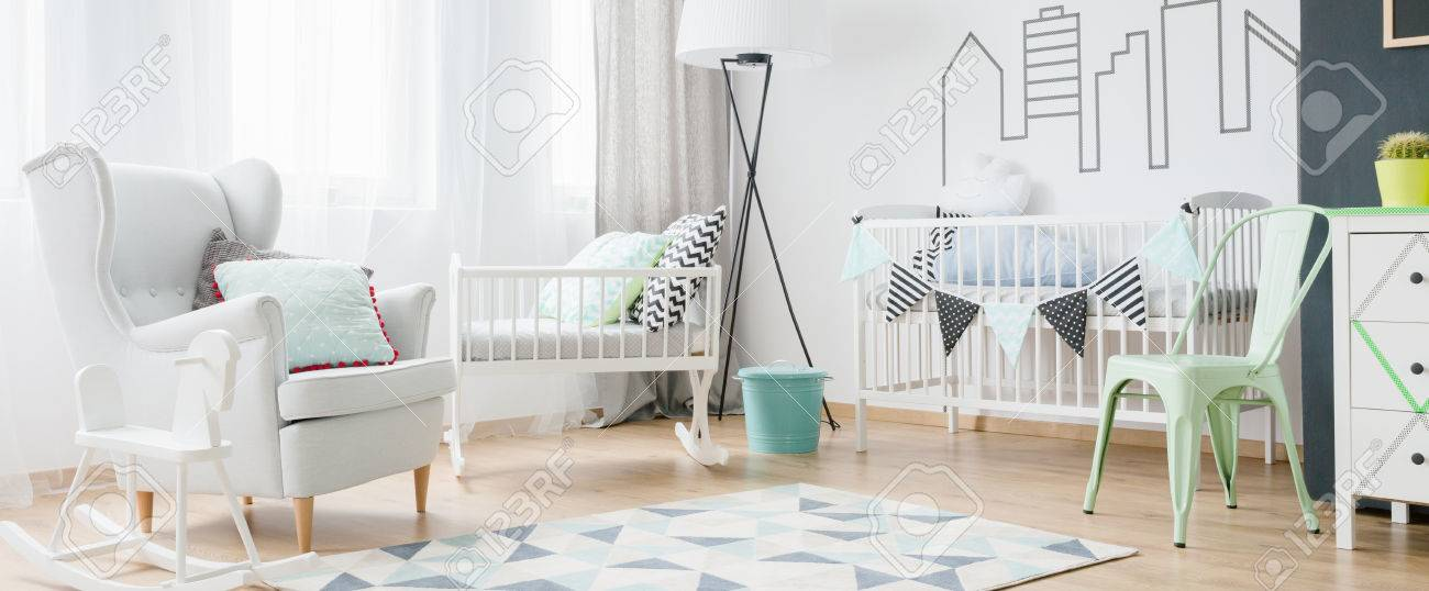 Light And Spacious Baby Room With Window, Armchair, Cradle, Cot, Chair,