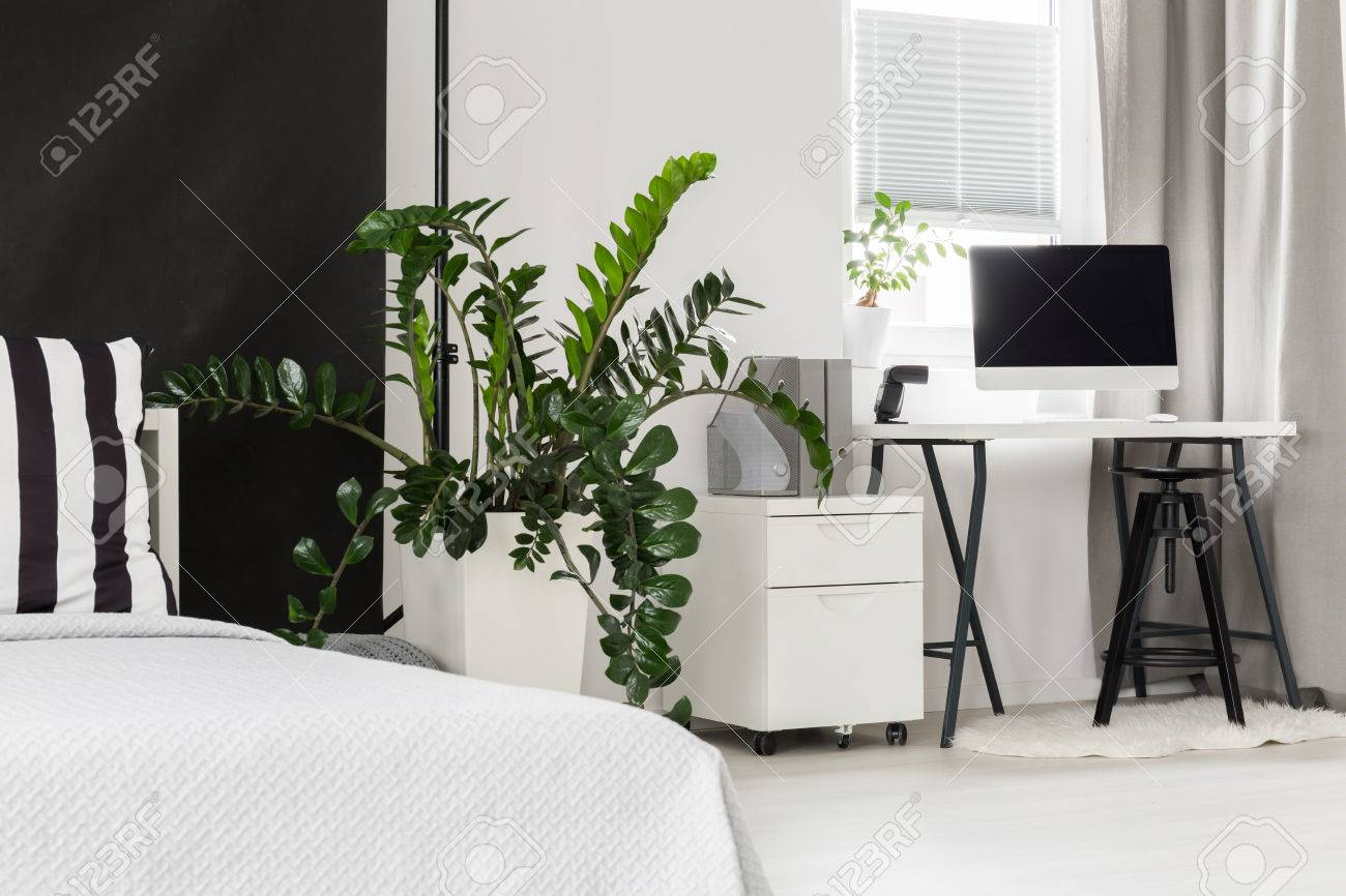 Simple plat design en noir et blanc avec chambre et bureau combiné