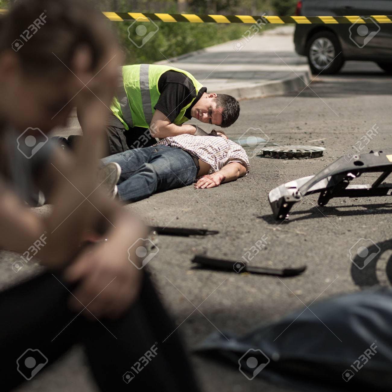 Despair Young Driver At Road Accident Scene Stock Photo, Picture And ...