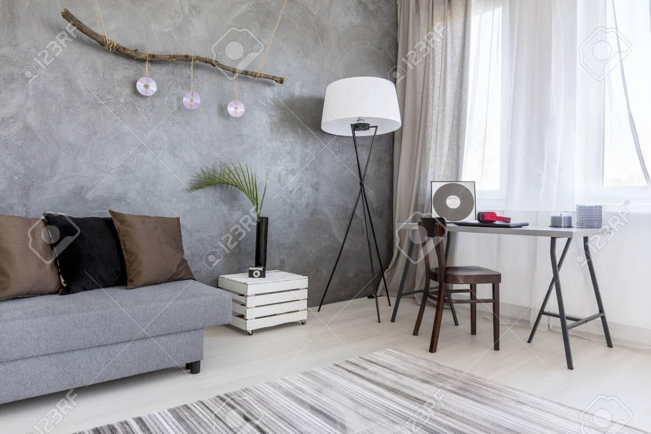 Corner Von Einem Modernen Wohnzimmer In Grau Angeordnet Mit Weissen