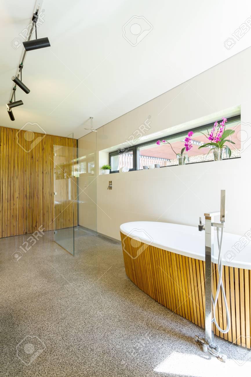Intérieur Salle De Bain Moderne Avec Grande Baignoire Et De Bois ...