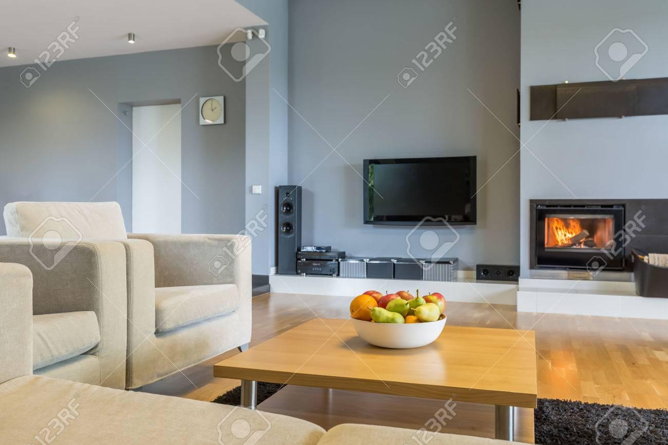 Geraumiges Wohnzimmer In Grau Mit Sofa Sessel Kleiner Tisch Tv
