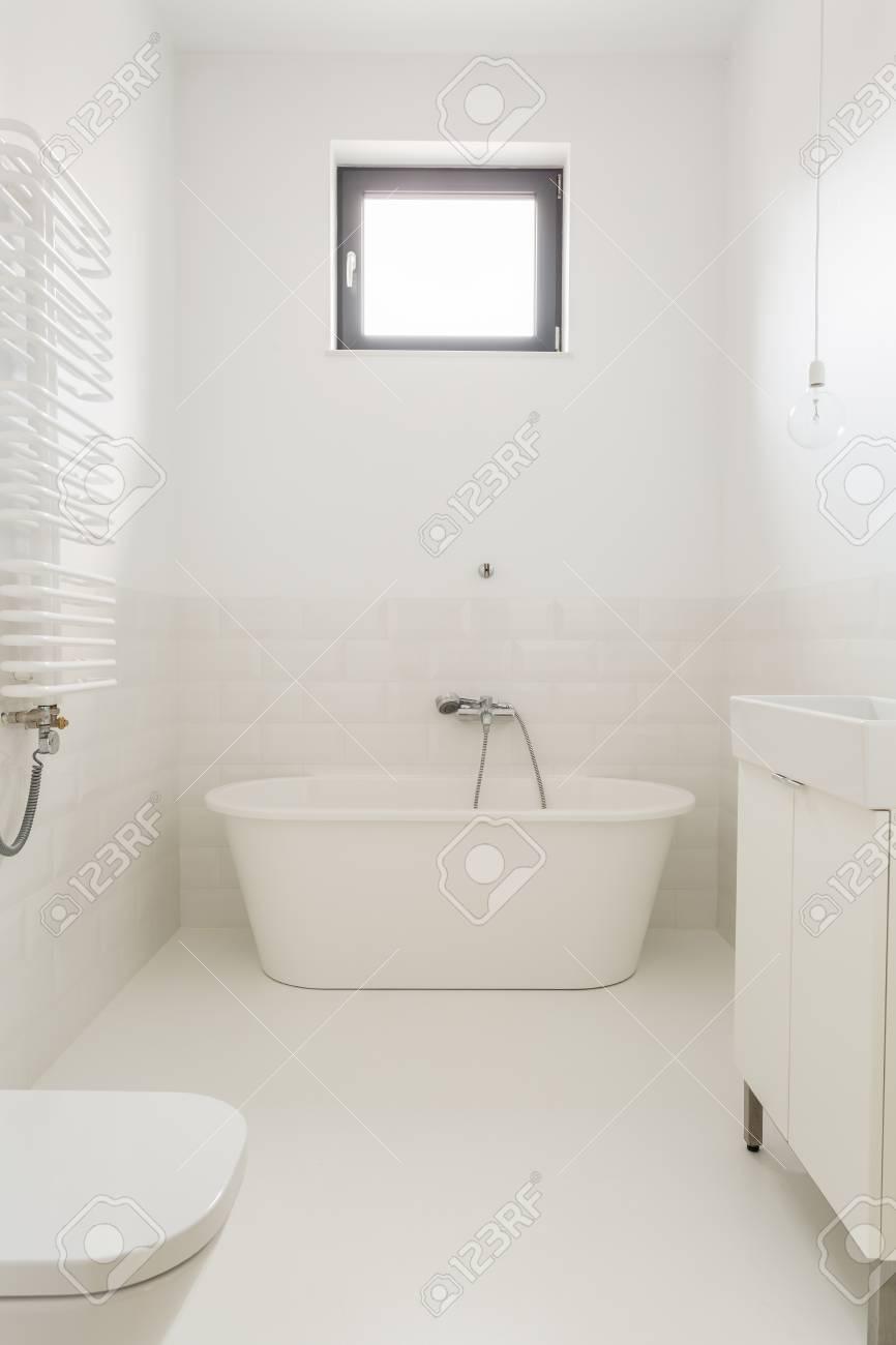 Bathroom With Freestanding Tub.Monochromatic White And Bright Bathroom With Freestanding Tub