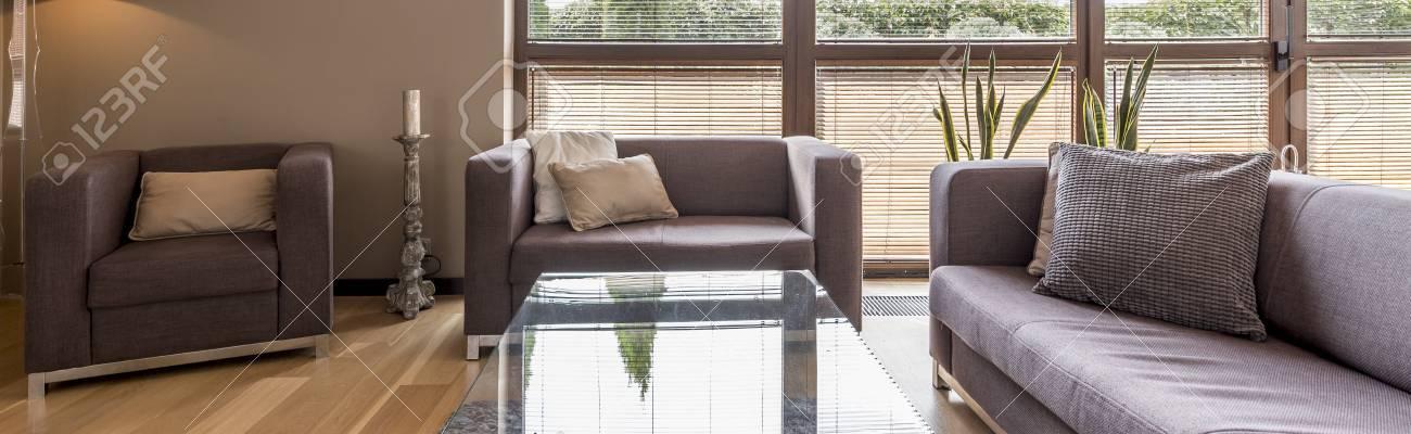 Modern interior with comfortable living room set and big window,..