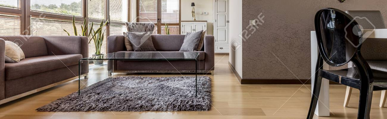 Modernes Wohnzimmer Mit Bequemen Möbeln Offen Essbereich, Panorama  Standard Bild   62772320