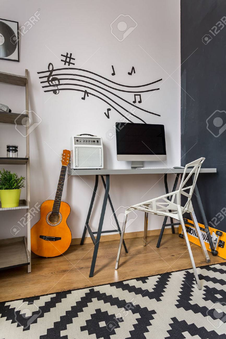 Modern Home Office With Small Desk, Crystal Chair, Music Wall Decor And  Pattern Carpet