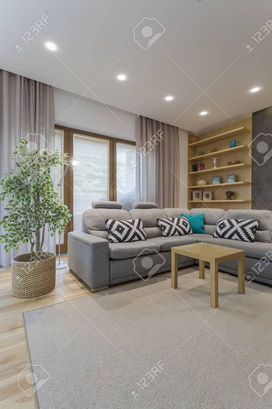 Lumineux Interieur Salon Avec Le Tapis Retro Eclairage De Plafond Fenetre Etageres Et Canape Avec Table Basse Au Milieu