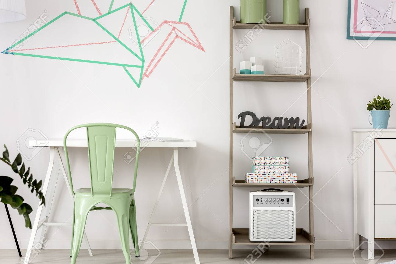 decorative home office. Simple Home Office With Decorative Washi Tape Wall Decor Stock Photo - 63272686 O