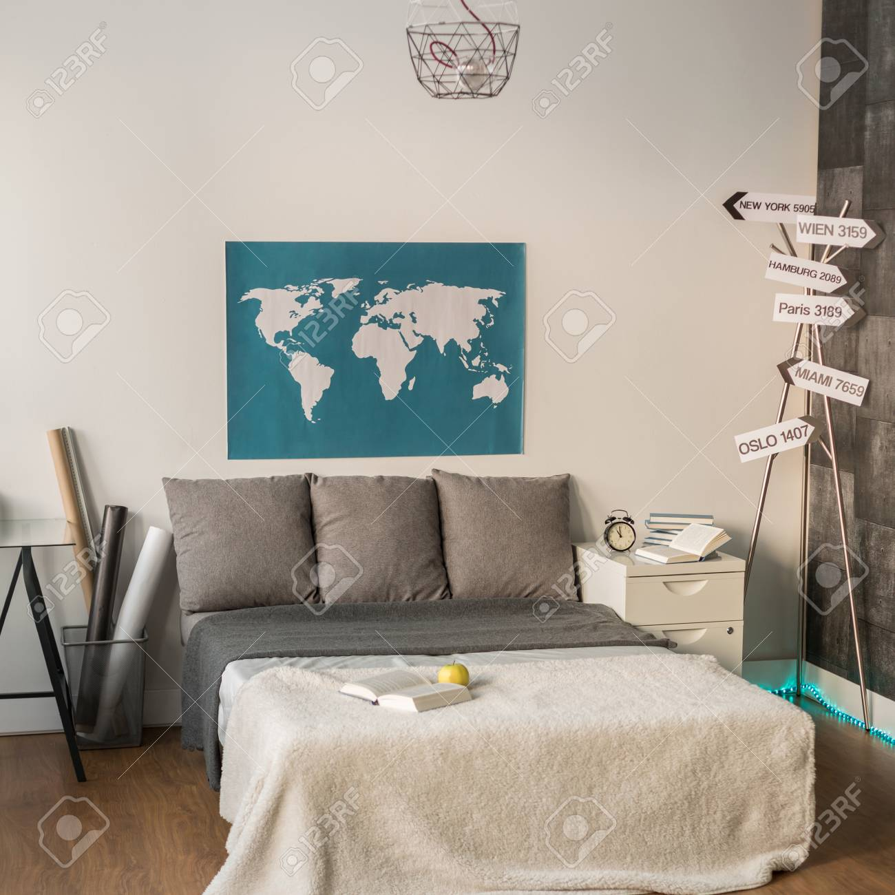 World Map In Bedroom For Couple Of Travelers Stock Photo Picture