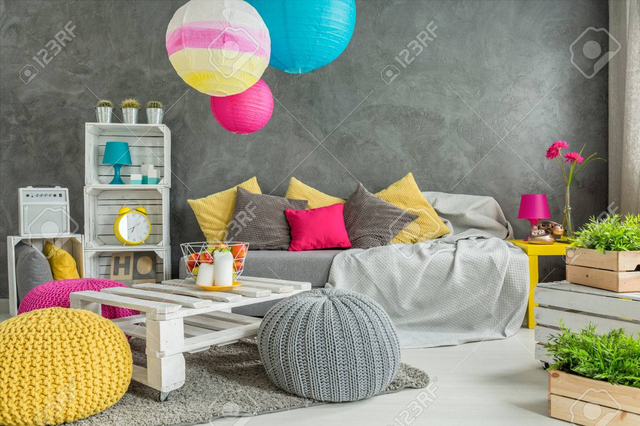 Grey Living Room With DIY Furniture, Sofa, Wool Poufs, Colorful Shades And  Green
