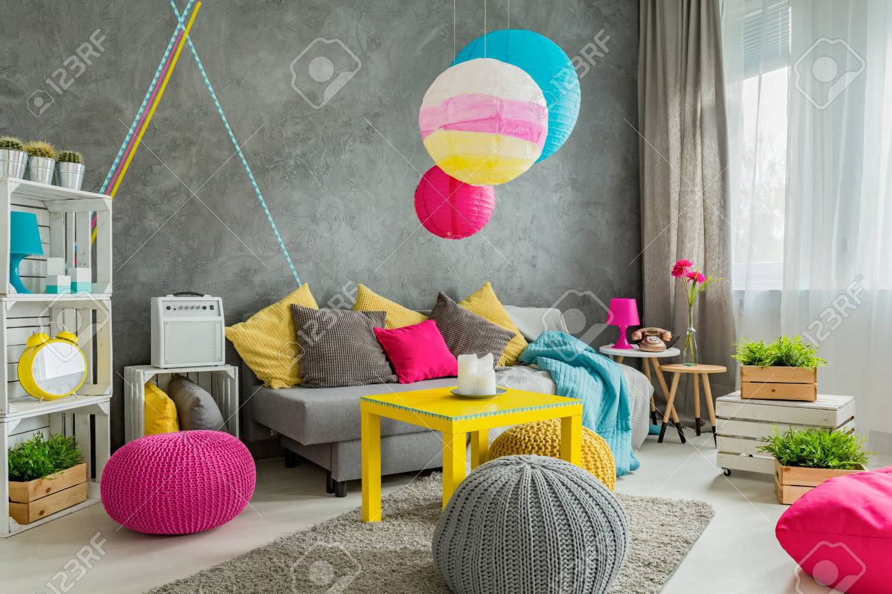 colorful modern furniture. Spacious Living Room With Modern Furniture, Colorful Details And Washi Tape Wall Decor Stock Photo Furniture