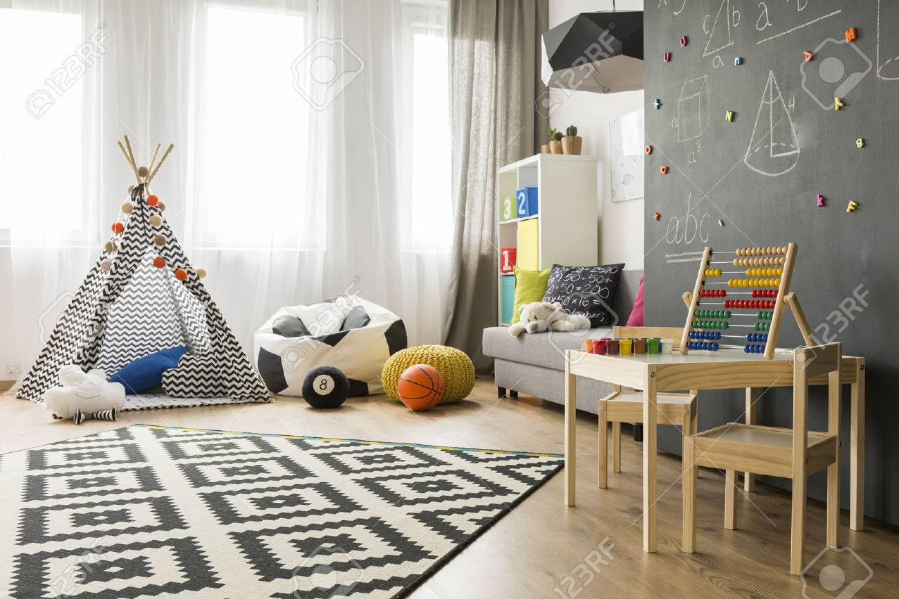 Marvelous Spacious Child Room With Window, Play Tent, Sack Chair, Pattern Carpet,  Regale