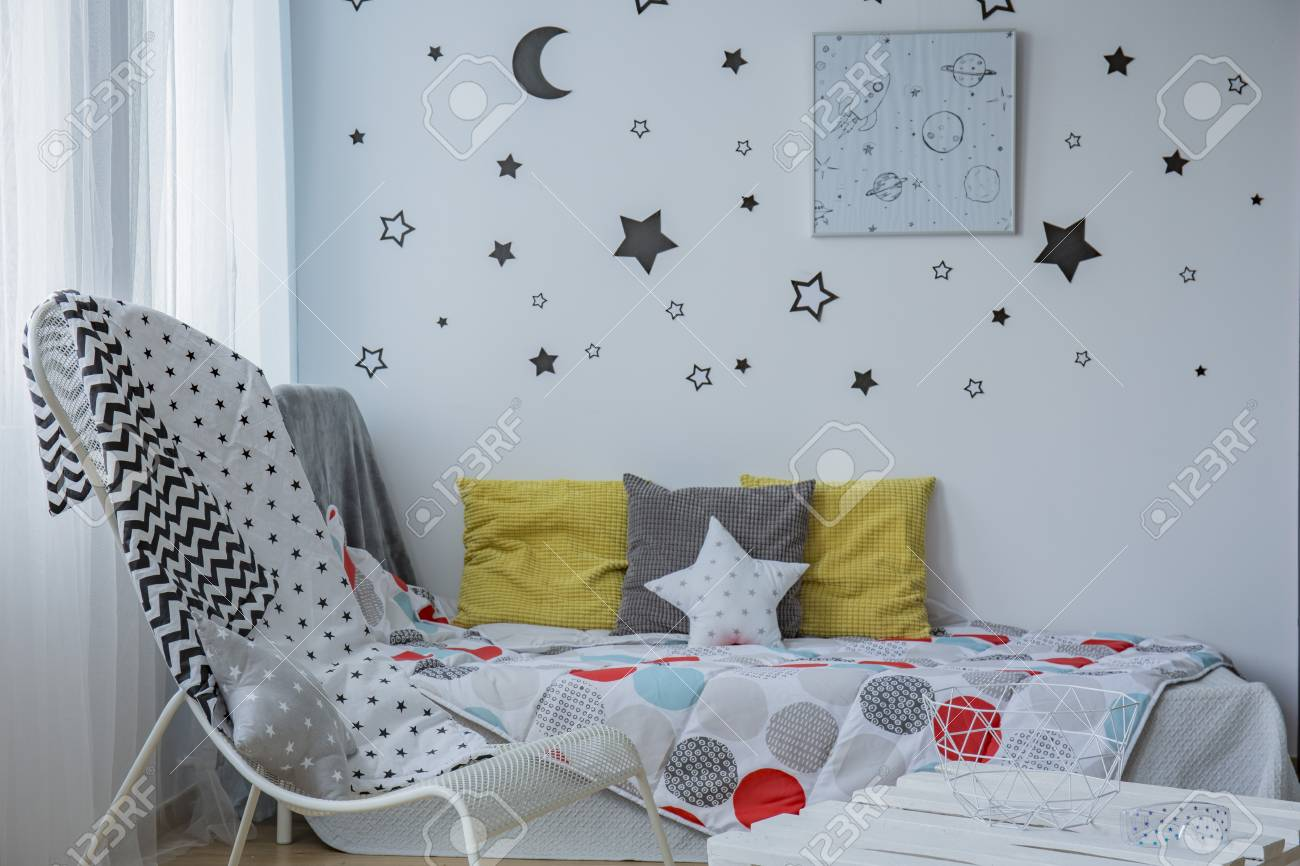Light Child Bedroom With Window Single Bed And Stars On The Stock Photo Picture And Royalty Free Image Image 63723340
