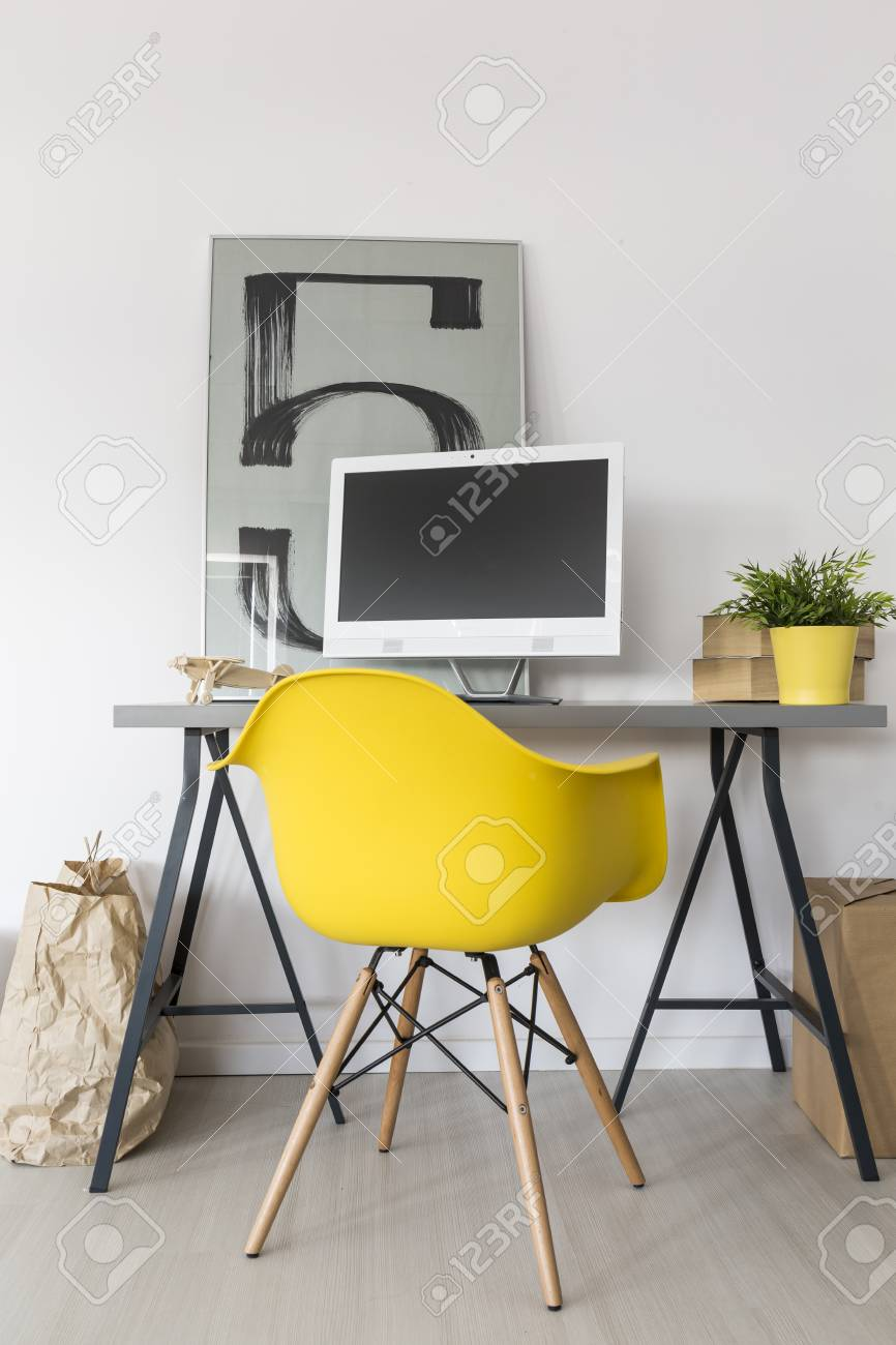 office decorative. Simple Home Office With Desk, Yellow Chair, Computer And Decorative Modern Painting On The