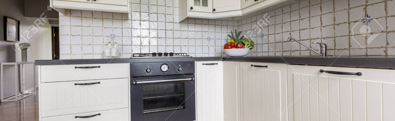 View Of Modern Functional Kitchen With Classic Bright Kitchen ...