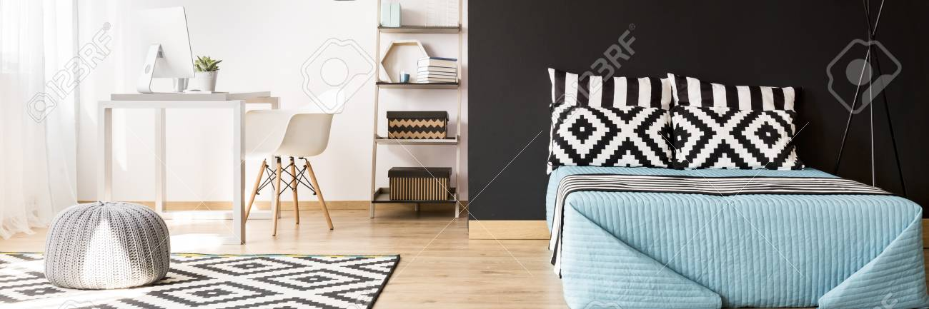 Banque Du0027images   Mur Noir Et Blanc Dans La Belle Intérieur, Branché,  Chambre