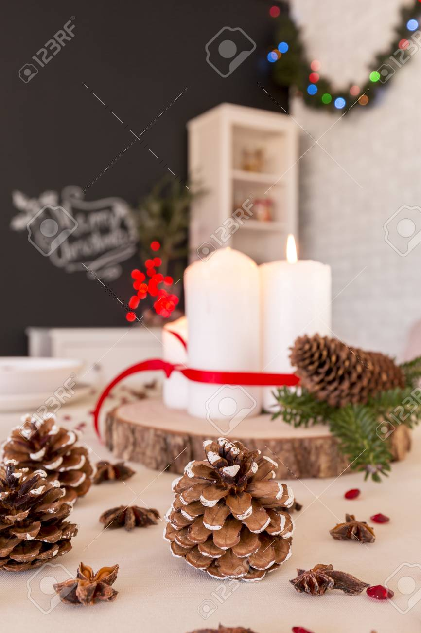 Diy Christmas Table Decoration With Candles And Pinecones Stock