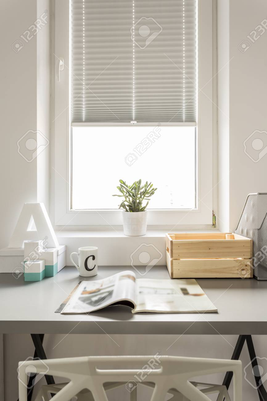 functional home office. Functional Home Office With Window, Desk And Chair Stock Photo - 64682357