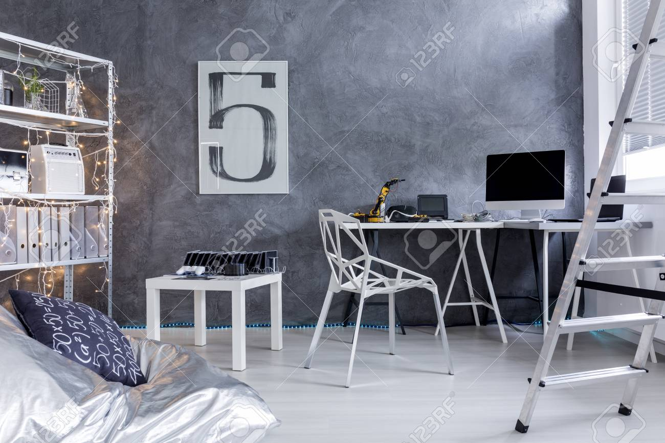 Surprising Minimalistic Room With Desk Rack Ladder And Bean Bag Chair Pabps2019 Chair Design Images Pabps2019Com