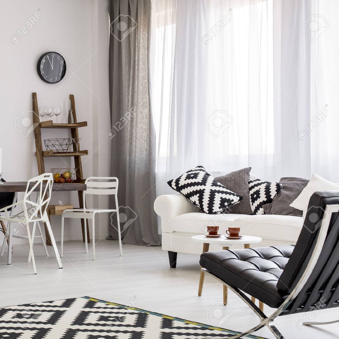 Shot Of A Creative Black And White Living Room Stock Photo, Picture ...
