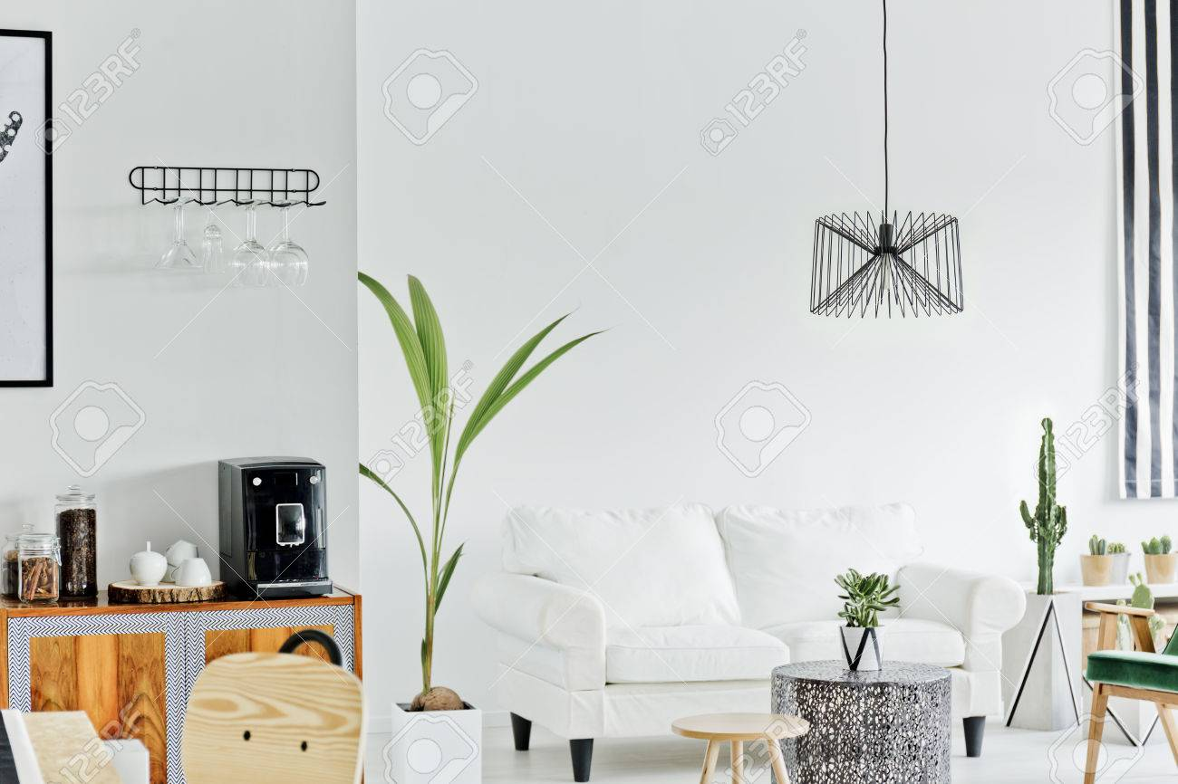 Weiß Wohnzimmer Mit Sofa Und Dekorative Zimmerpflanze Lizenzfreie ...