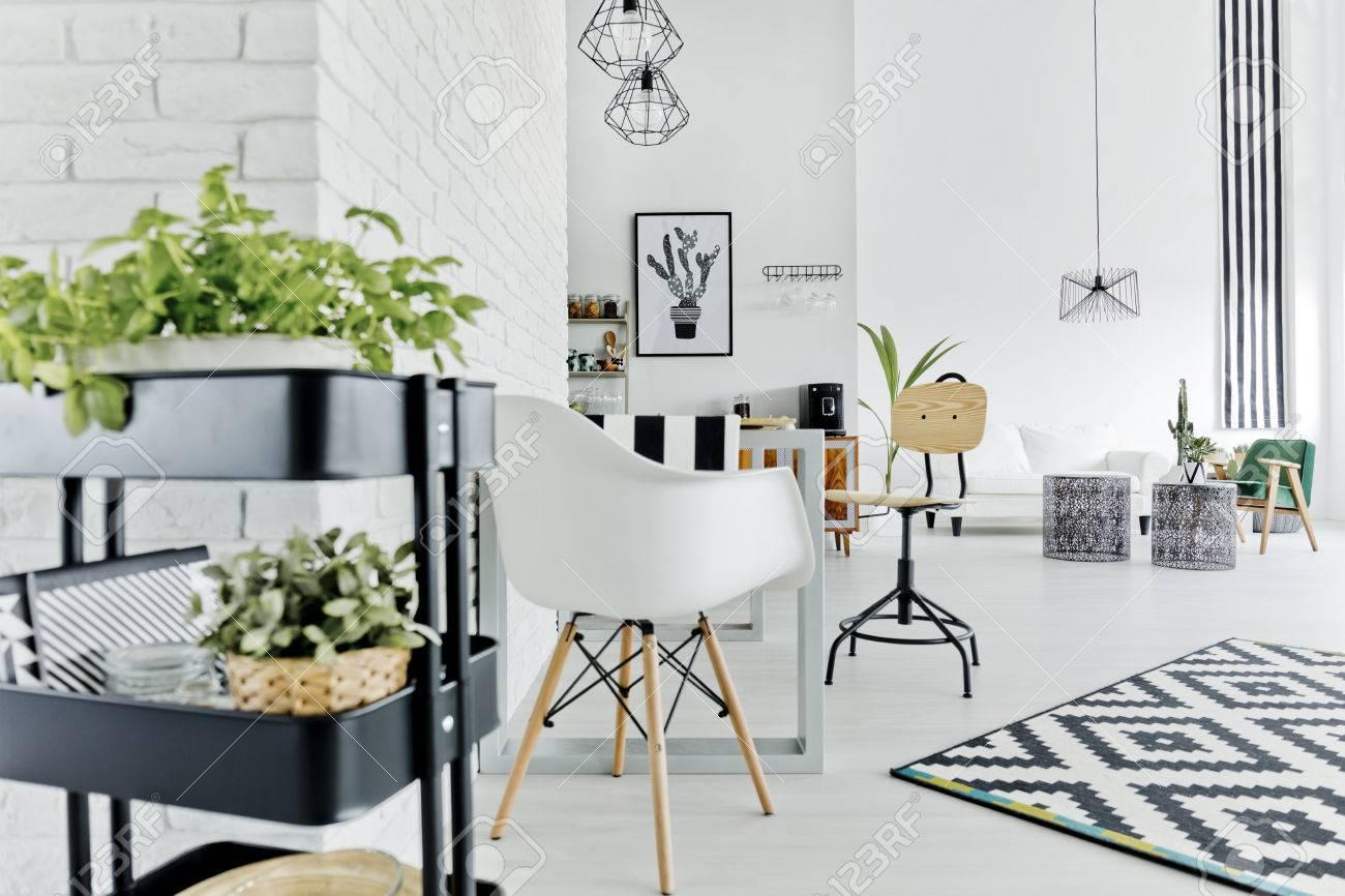 Weiße Wohnung Mit Kräuterstand, Tisch, Stuhl Und Teppich Lizenzfreie ...