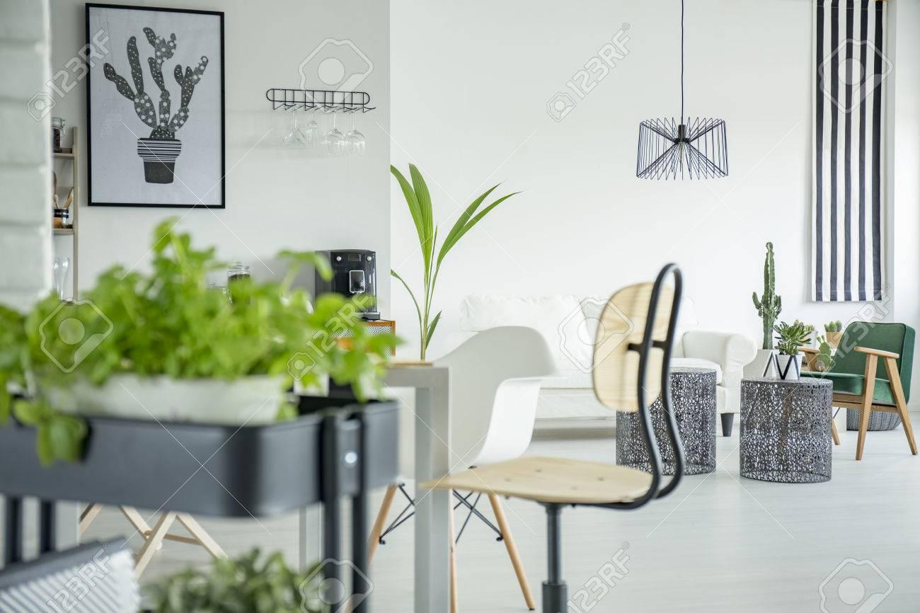 Weisse Wohnlandschaft Mit Krauterstander Holzstuhl Und Tisch