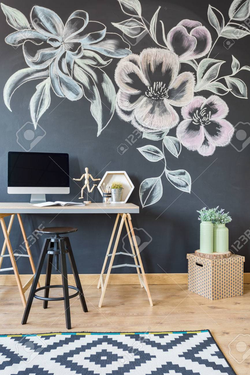 chalkboard office. Home Office With Chalkboard, Pattern Carpet, Desk, Stool And Computer Stock Photo - Chalkboard P