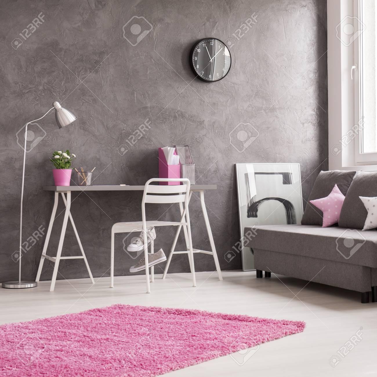 Geräumige Minimalistische Interieur In Grau, Rosa Und Weiß Mit ...