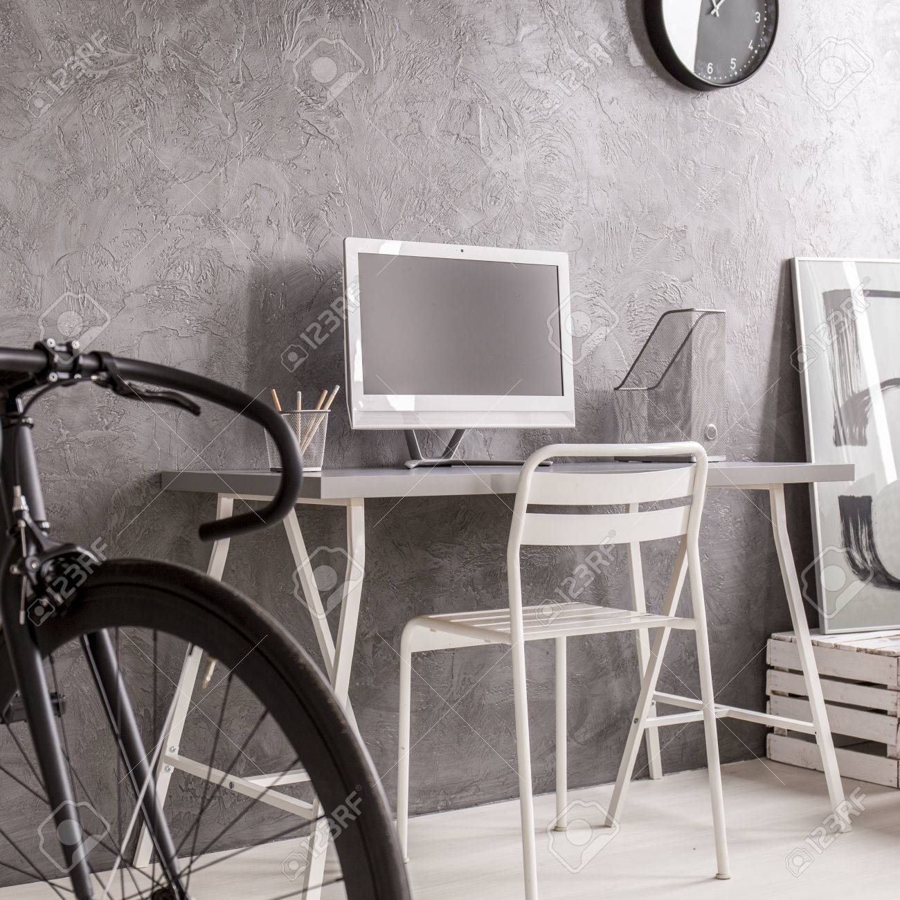 Grey Minimalist Room With Black Bike White Desk Computer And Stock Photo Picture And Royalty Free Image Image 66355810