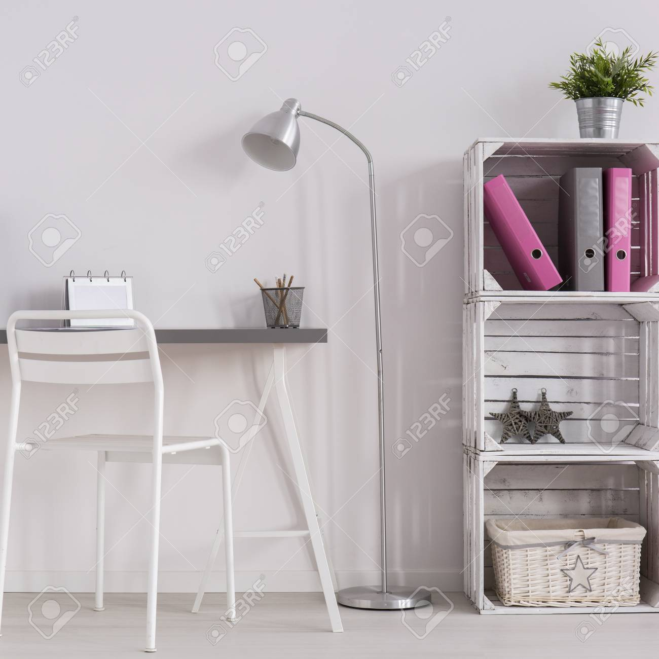 simple minimalist home office. Stock Photo - White Minimalist Home Office With Simple Desk, Standing Lamp, Chair And DIY Bookcase N