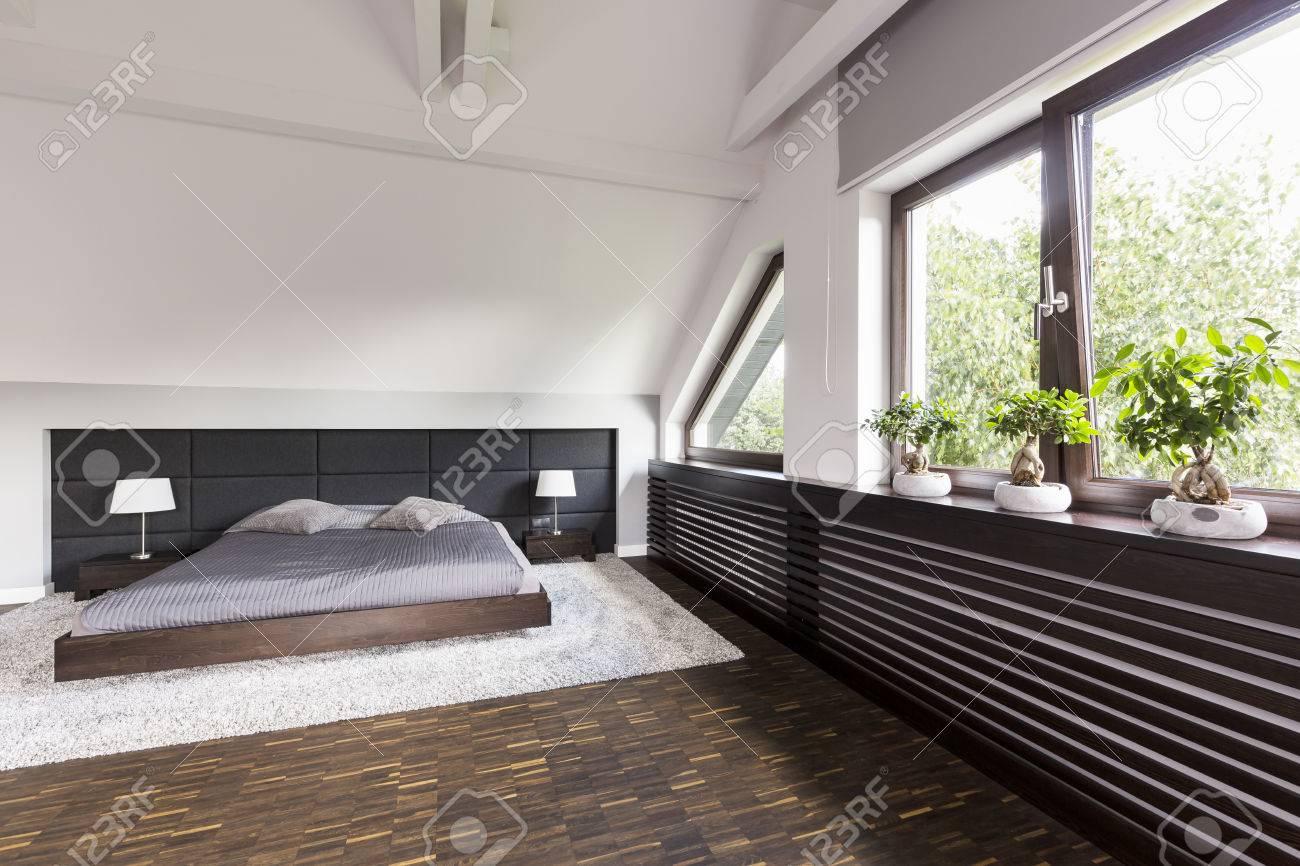 Lgante Chambre Avec Lit Double Et Bas Bonsais Decoratifs Banque D
